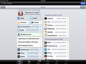 iOS Cydia Main Screen